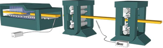 Graphic representation of a pyrometer measurement on a reheat furnace exit and roughing stands and a rolling mill.