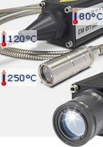 Pyrometer-Gehäusedetails Objektiv und Umgebungstemperatur.
