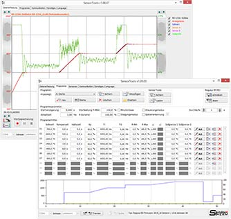 SensorTools software screenshots of PID program controller type Regulus.